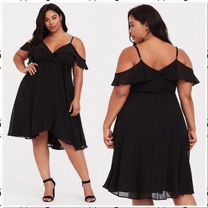 Torrid Cold Shoulder Chiffon Wrap Dress Black 2X